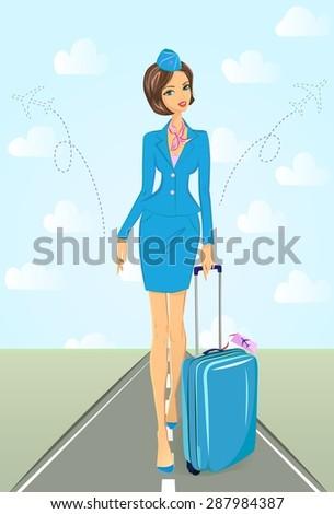 attractive flight attendant in