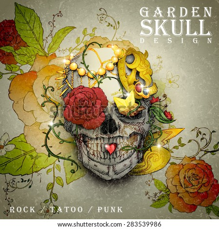attractive garden skull design