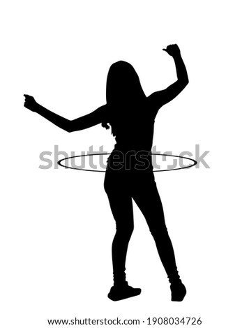 Attractive girl exercising with a hula hoop vector silhouette illustration isolated on white background. Handsome teen woman funny dancing with gym toy and losing weight. Workout with sport tool.  Stock photo ©