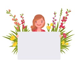 Attractive girl holding empty poster on spring floral background. Beautiful smiling woman with white blank banner for copy space, green garden botanical decor. Vector flat style cartoon illustration