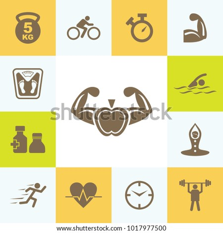 Attractive Icon Set of Fitness. Eps-10.