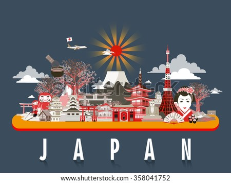 attractive Japan travel poster design with attractions