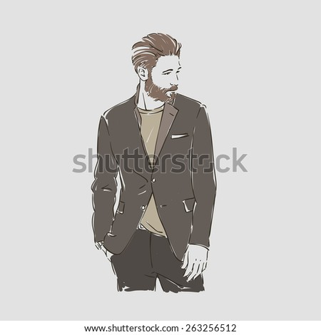 attractive man with beard in