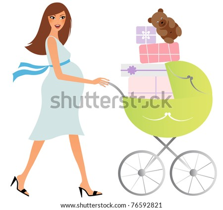Attractive pregnant woman with a buggy shopping for baby stuff