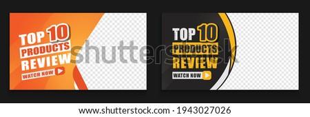 attractive product review video thumbnail design template clickable Premium Vector