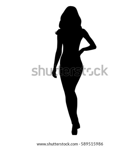 Attractive slim woman with hand on her hip walking, isolated vector silhouette