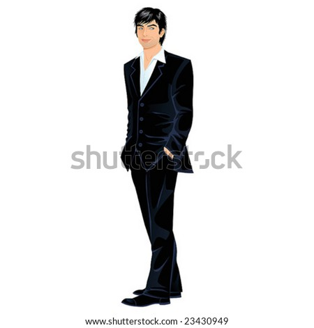 Attractive young man in black suit, vector illustration