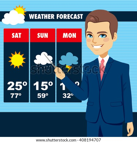 Attractive young tv news weather reporter man showing weather forecast chart