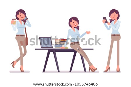Attractive young woman in buttoned up shirt and camel skinny chino trousers, with coffee, at desk. Business stylish workwear trend and office city fashion. Vector flat style cartoon illustration