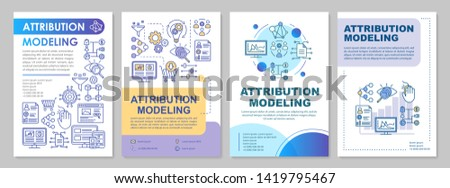 Attribution modeling brochure template layout. Web analytics. Flyer, booklet, leaflet print design with linear illustrations. Vector page layouts for magazines, annual reports, advertising posters
