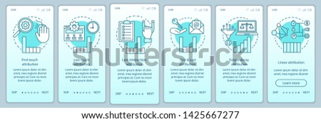 Attribution modeling types turquoise onboarding mobile app page screen vector template. Diagrams, charts walkthrough website steps with linear illustrations. UX, UI, GUI smartphone interface concept Photo stock ©