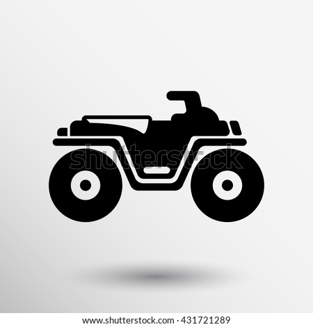 ATV front view isolated vector icon off-road motorcycles sign on white background.