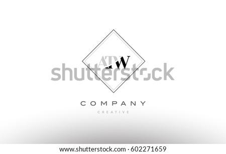 atw a t w retro vintage simple rhombus three 3 letter combination black white alphabet company logo line design vector icon template  Zdjęcia stock ©