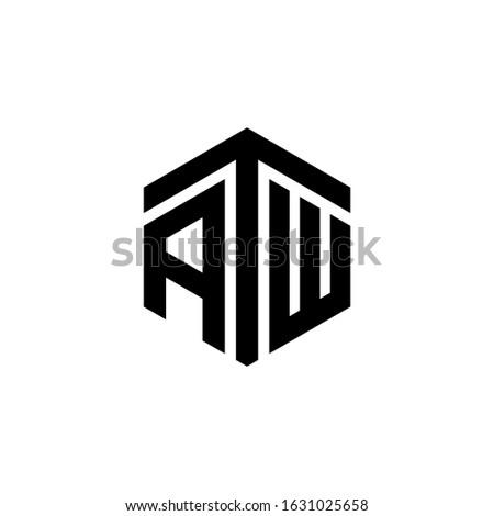 ATW Letter Logo Design polygon Monogram Icon Vector Template Zdjęcia stock ©