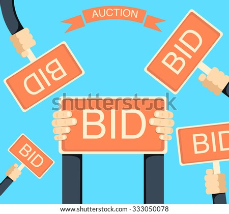 auction and bidding banner with