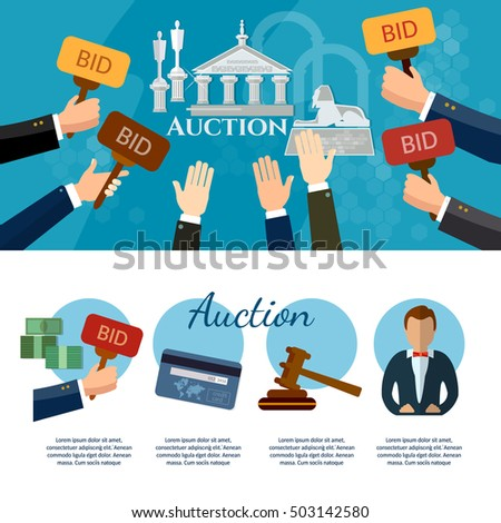 Auction and bidding banners auction selling antiques art object culture auction template vector illustration
