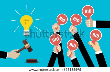 Auction and bidding concept. Hand holding auction paddle. Selling a good idea. Flat vector illustration.