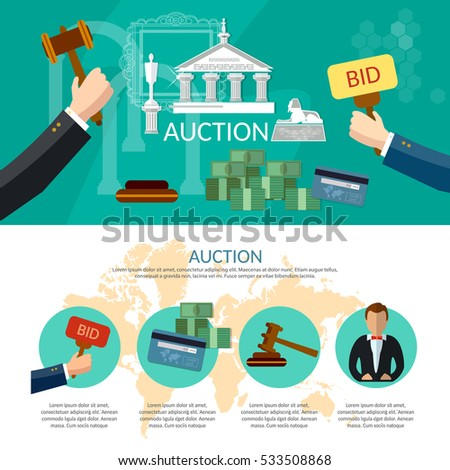 Auction and bidding infographics, antiques art object culture, auction bidding concept vector illustration
