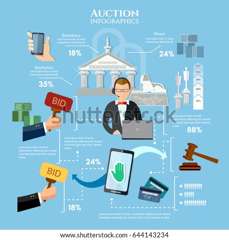 Auction and bidding infographics, antiques art object culture. Electronic online auction concept vector illustration