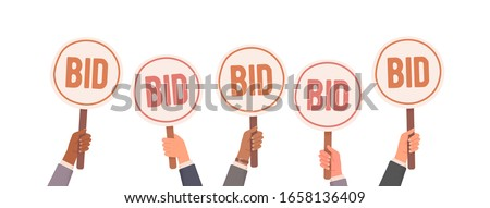 Auction bidding. Hands holding bids. Auction and bidding concept. Sale and buyers. Vector illustration ストックフォト ©