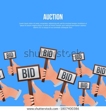Auction bidding. Potential buyer, business competitor or financial auctioneer human hand holding BID decision sign card. Online public auction bidding illustration. Vector commercial sale poster. ストックフォト ©