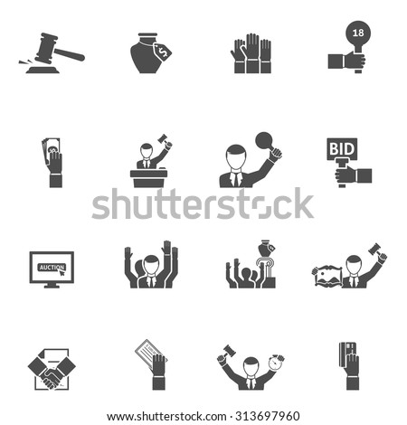 Auction black white icons set with bids internet vase and painting flat isolated vector illustration