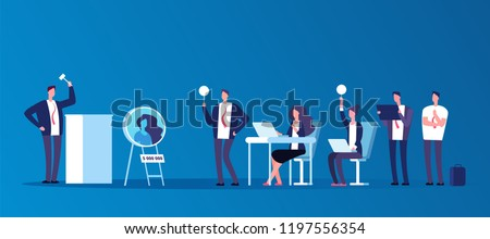 Auction concept. People people bidding in public auction house. Bidder, buyer and auctioneer vector characters. Auction and auctioneer, market trade illustration