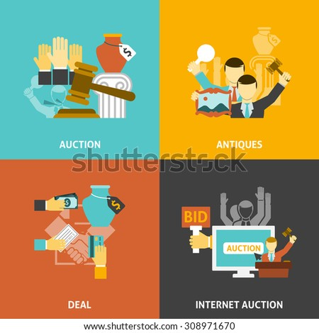 Auction deal icons set with antiques and internet bidding flat isolated vector illustration