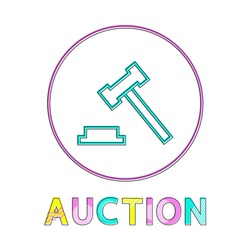 Auction hammer flat vector color framed icon in minimalistic style. Symbol for merchandise put up for sale, form trade and for public bidding bargain