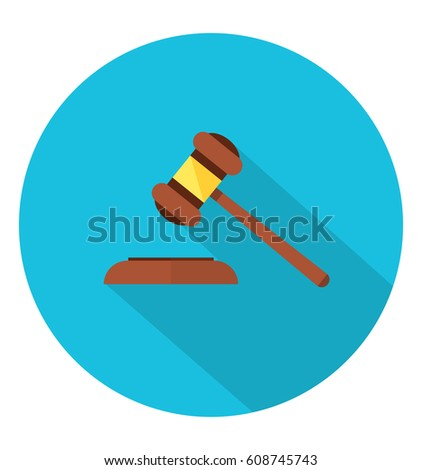 Auction hammer, law judge gavel icon in trendy flat style. Flat design in stylish colors. Isolated. Long Shadow. Simple circle icon. EPS10.