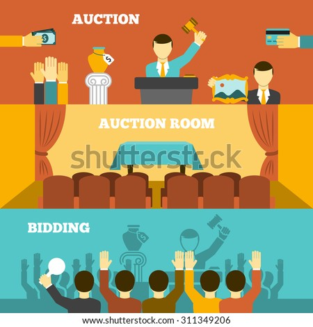 Auction horizontal banners set with room and bidding flat isolated vector illustration