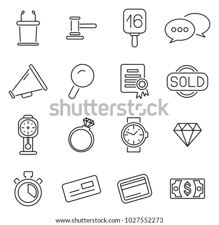 Auction House or Auction Icons Thin Line Vector Illustration Set