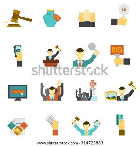 auction icons set with hammer