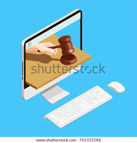 Auction isometric conceptual composition with desktop computer and human hand with hammer in display screen vector illustration