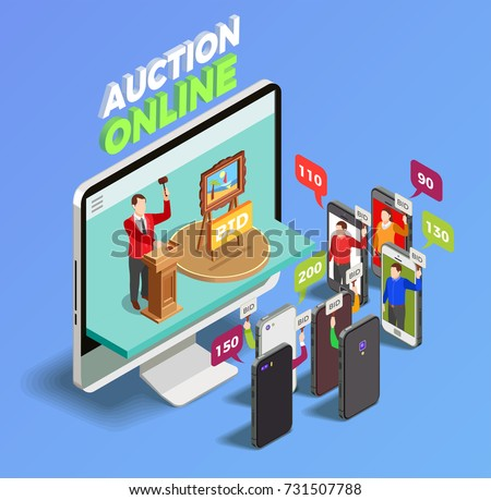 Auction isometric conceptual composition with desktop computer and smartphones taking action in online auction with thought bubbles vector illustration