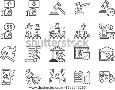 Auction line icon set. Included icons as hammer, price, bidding, judge, auction hammer,painting, deal and more. ストックフォト ©