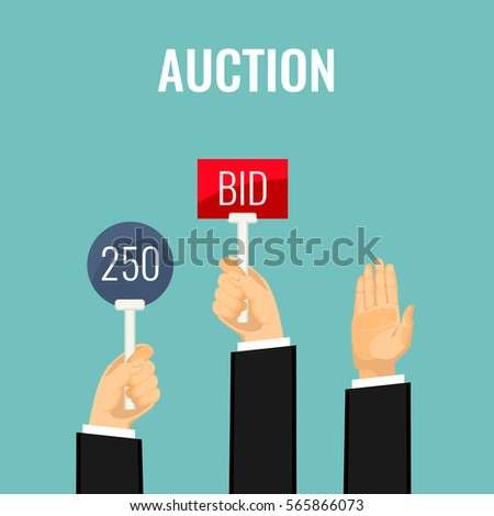 Auction meeting and hands holding paddles with number and BID inscriptions. Vector illustration of buying things on auction by rising special paddle and offering sum. Business bidding process