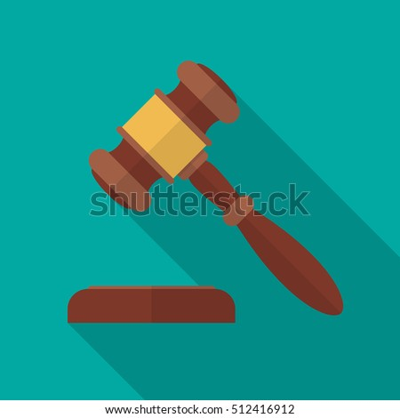 Auction or judge gavel icon with long shadow. Flat design style. Auction gavel simple silhouette. Modern, minimalist icon in stylish colors. Web site page and mobile app design vector element.