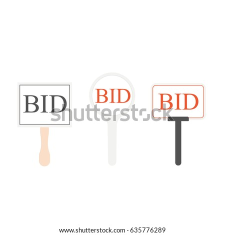 Auction paddle set. vector illustration
