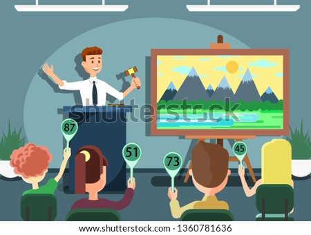 Auction Public Sale Banner. Selling Landscape Painting. Potential Buyers Making Higher Bids to Get Goods and Property, Participants and Auctioneer Announcing Prices with Gavel Vector Illustration. ストックフォト ©