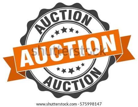 auction. stamp. sticker. seal. round grunge vintage ribbon auction sign