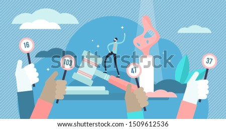 Auction vector illustration. Flat tiny bid for product purchase persons concept. Legal form of selling products and estate for highest price. Investment decision offer badge and gavel verdict symbols. Foto stock ©