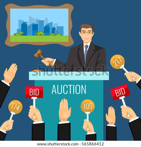Auction vector process with man holding gavel behind special stand near hanging picture and human raised hands in front of him. Take round and rectangular paddles with numbers and BID inscriptions.