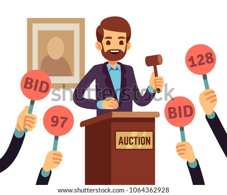 Auction with man holding gavel and people raised hands with bid paddles vector concept. Auction business, bid and sale, trade commercial illustration