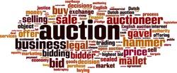 Auction word cloud concept. Vector illustration