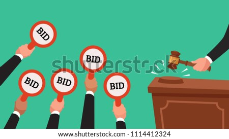 Auctioneer hold gavel in hand. Buyers competitive raising arm holding bid paddles with numbers of price. Auction bidding businessman human trade market colorful vector concept flat illustration