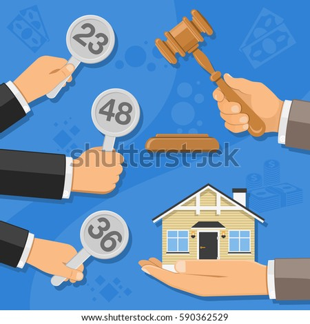 Auctions and bidding concept. Auctioneer holding gavel in hand, and buyers holding in hand bids. sale real estate at auction. icon in flat style. Isolated vector illustration.