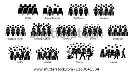 Audience, crowd, and people reactions toward stage performance. Pictograms depict spectators of live show emotions and actions such as happy, unhappy, clapping hands, surprised, bored, angry, and cry. Сток-фото ©