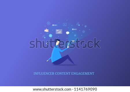 Audience engaged with content, influencer content marketing, mobile social media engagement - flat vector concept with icons on blue background