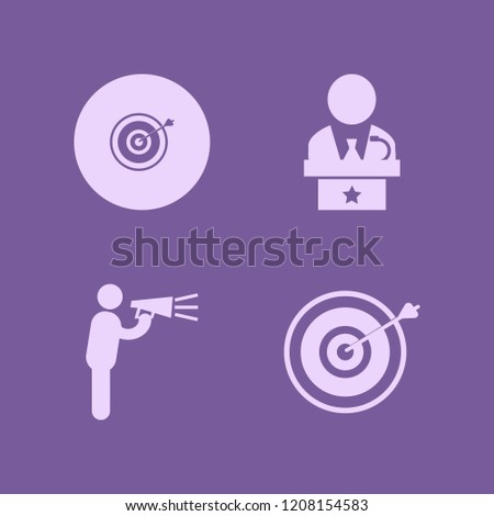audience icon. audience vector icons set target, man talking by speaker and public speaker